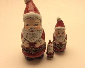 Vintage French Limoges Nesting Santas set of 3