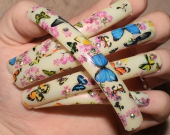 Cream Nails | Extra Long Nails | Nail Tips | Fetish Nails | Fake Nails | False Nails | Butterfly Nails | Nail Designs | Artificial Nails