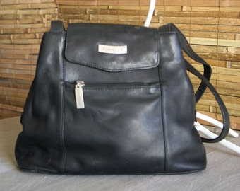 Vintage Louvier  Paris Vintage Black Leather Handbag