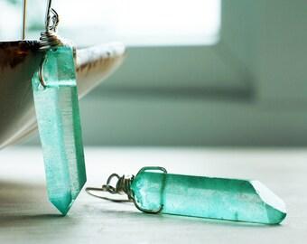 Seafoam green crystal earrings | Teal green earrings | Sterling Silver green earrings | Raw crystal earrings | Natural gemstone jewellery