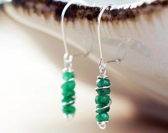 Sterling silver Emerald gemstone earrings | Natural genuine Emerald earrings | May birthstone earrings | Real green Emerald beaded earrings