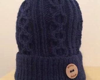 Ladies Navy/White Faux Fur Pom Hat