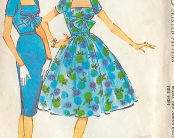 "1959 Vintage Sewing Pattern DRESS B36"" (R226) McCalls 4885"