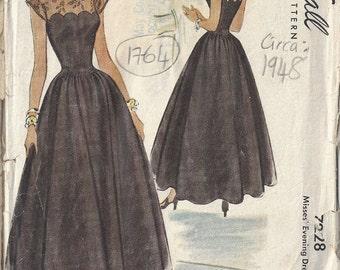 1948 Vintage Sewing Pattern B32 EVENING DRESS (1764)