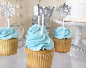 Winter baby shower,cupcake toppers, winter onderland, baby its cold outside baby shower, winter onerland baby shower