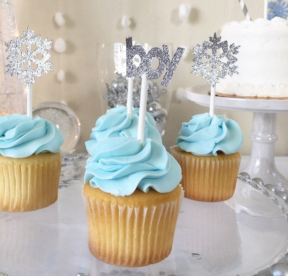 Winter Baby Shower Cupcake Toppers Winter Onderland Baby