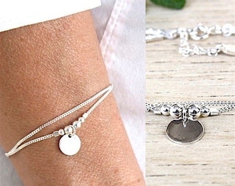 sterling silver bracelet double curb chain beads and medal