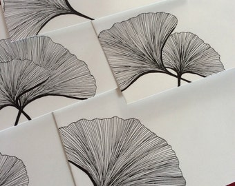 Ginkgo Leaves, Hand-decorated Envelope Set (6 envelopes)