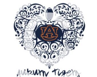 Alabama Auburn Tigers Ornate Heart SVG File