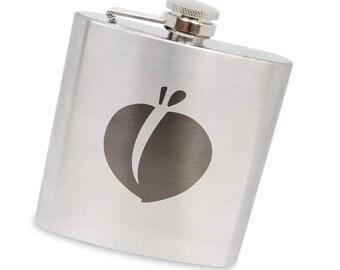 Peach 6 Oz Flask, Stainless Steel Body, Handmade In Usa