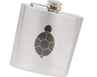 Turtle 6 Oz Flask, Stainless Steel Body, Handmade In Usa
