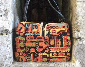 Vibrant vintage carpetbag handbag