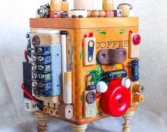 Mini-mite the COFFEE BOT  assemblage box found materials OOAK robot found materials electrical salvage decorative piece storage sculpture