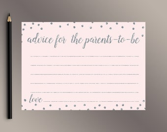 Advice for Parents-To-Be, Baby Shower Games, Pink and Silver Confetti Baby Shower game ideas, Advice for Mom-To-Be, Fun Baby Shower activity