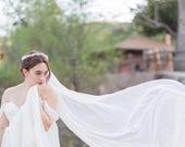French Silk Chiffon Single Tier Chapel Length Veil | Romantic Bridal Veil | Floor Length, Chapel, and Cathedral