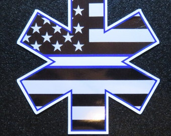 """EMS Star of Life with American Flag & Thin White Line 4"""" Decal"""