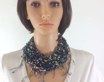 pastel scarf, rainbow scarf, multicolour scarf, feminine accessory , stylish accessory, modern scarf, feminine scarf, delicate scarf,