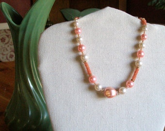 Soft pastel pink beaded necklace  **Price Reduction**