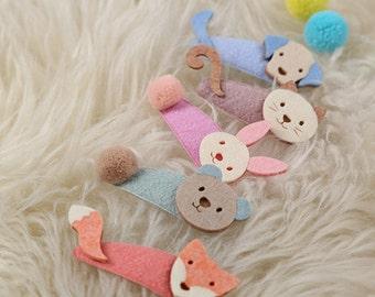 Felt Hair Clip, Snap Clip,Cute Hair clips,Animal Hair Clips, Hair Accessoies, Hair Pin for baby kids girls, Felt Hairclips