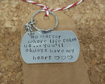 Love heart, handstamped keyring, love gift, gift for her, gift for wife's, valentines day, personalised keychain, husband gift