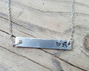 SHIPS FREE.custom necklace.initial bar necklace. Bar necklace.personalized bar necklace.birthstone necklace.gift for sisters.gift for her.