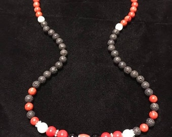 "26"" 10mm and 8mm red coral, lava rock, Georgia Bulldogs beaded necklace"