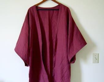 100% Linen Flax Kimono in Wine with Black Trim - Open Cardigan - Jacket - Lagenlook - Japanese - Loungewear