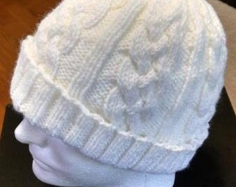 Hand Knit Beanie Hat with Celtic/Aran Style Cables