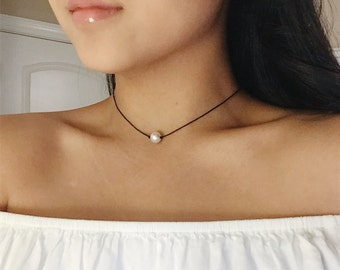 Simple Pearl Choker, Single Pearl Choker, White Pearl Choker, Black Cord Choker, Dainty, Simple, Delicate, Minimal