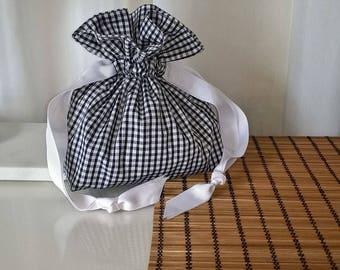 gingham draw string bag