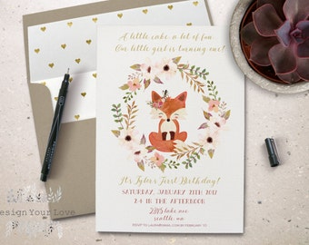 printable girl's birthday invitation printable birthday invite floral birthday card cute fox invitation woodland animals first birthday 5x7