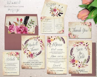 floral wedding invitation set printable boho wedding invitation suite vintage romantic wedding bohemian wedding watercolor floral