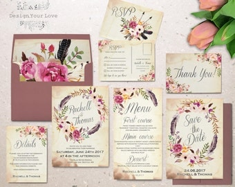 floral wedding invitation set printable boho wedding invitation suite vintage romantic wedding bohemian wedding watercolor floral wreath