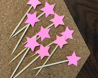 Pink Star Cupcake Toppers