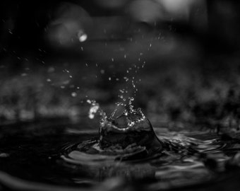 Black and white rain drop photo printed on canvas, Rain drops print, Water droplets, Water photo canvas, Nature Photography on canvas print