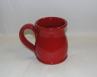 Deneen Pottery Round Belly Handmade Coffee Mug- Glazed in Red