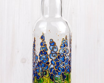 Hand Painted Bottle, Blue Meadow Flowers