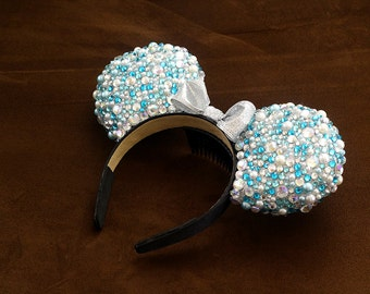 Blue and Silver Rhinestone/Pearl Mouse Ears
