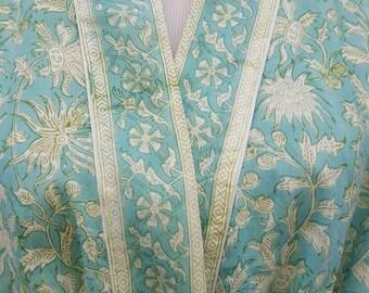 Cotton Bathrobe - Cotton Kimono, Cotton Robe, Cotton lounge robe, bridal Robe, Bridesmaids Robe, Holiday Robe,  Indian block print design