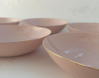 Set of Four - Gold Rimmed Pink Porcelain Bowls. Contemporary Ceramics. Handmade Clay Bowls. Minimalist Design. FebbieDay Ceramics.