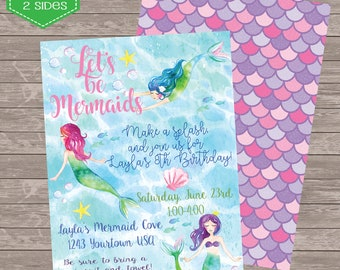 Mermaid under the sea Birthday Digital Birthday invitation 5 x 7 printable invite