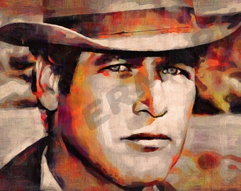 Paul Newman Art Print - Oil Painting Poster  LFF0144
