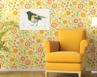 New Zealand native bird Hihi (or stitchbird) illustrated Large print from original watercolor and ink painting artwork, Wild wall art