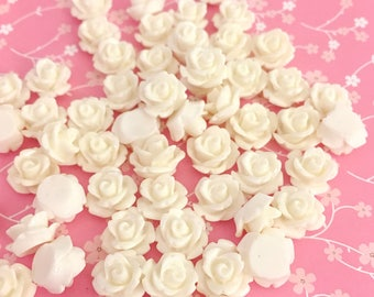 White Rose Cab | Resin Rose Cabochon | Flower Cabochon | Resin Flower | Resin Rosebuds | 9MM Resin Rose | Flatback Rose | 24 Pieces