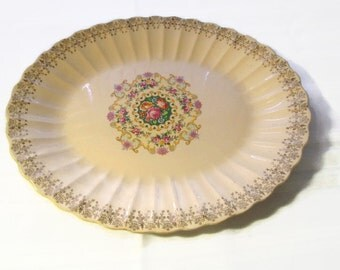 1940s Platter Treasure Ware by American Limoges 22 kt China-Co Sebring