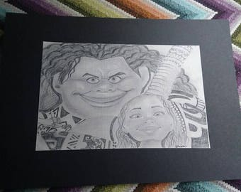 Moana and Maui Graphite Pencil Drawings