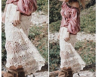 Crochet Skirt Long Cotton Skirt Long Summer Skirt Long Gypsy Skirt Off  White FREE SHIPPING