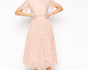 2 piece lace dress with crop top