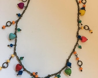 Colorful Hearts Necklace Bronze Giracolo Fun