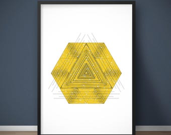 Yellow art, Yellow wall art, Yellow wall decor, Yellow prints, Geometric art print, Tribal wall art, Geometric art prints, 24x36 poster